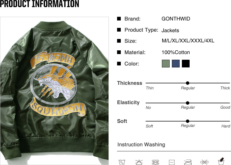 Embroidery Dragon Bomber Jackets