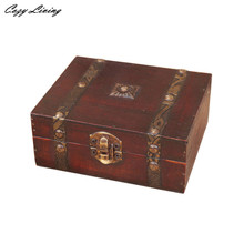 Decorative Trinket Jewelry Storage Box Handmade Vintage Wooden Treasure Case Retro Style Jewlry Organizer Storage Cases D13