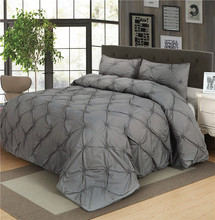 Luxury Duvet Cover Set Grey Pinch Pleat 2/3pcs Twin/Queen/King Size Bedclothes Bedding Sets (no filling no sheet )