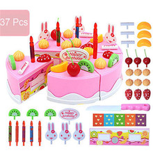37PCS DIY Funny Cutting Fruit Birthday Cake Food Play Toy Set Kids Boy Girl Children Classic Toys