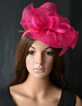 Hot pink fuchsia Sinamay Fascinator hat for Melbourne cup,Ascot races wedding kentucky derby,party.
