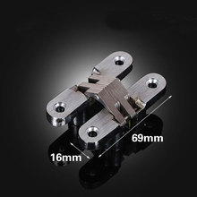 Stainless Steel Hidden Hinges 69X16MM three dimensional Adjustable Invisible Concealed Door Hinges for Folding Door 2pcs(China)