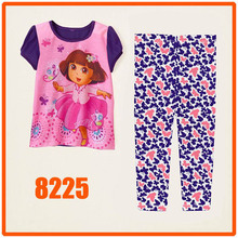 Girls Dora Pajamas Sets Children Autumn -Summer Clothing Set New 2014 Wholesale Kids Cartoon Short Sleeve Pijamas 8225(China)