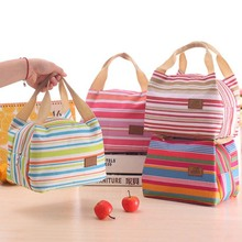 Food Storage Bags School Children Kids Picnic Sports Colorful Lines Cooler Travel Thermal Insulation Bag