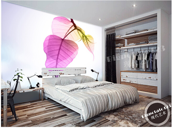 Customized photo wallpaper, purple leaf bedrooms feature large murals for the living room TV wall vinyl Papel de Parede<br><br>Aliexpress
