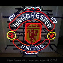 Hot Neon Sign Real Glass Neon Signs For Mancheste United Football Team Sport Display Arcade sign handcraft Sign Neon Light 24X24(China)
