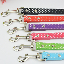 Free Shipping Polka Dots PU Leather Pet Supplies120cm Length Dog Cat Puupy Leash Lead