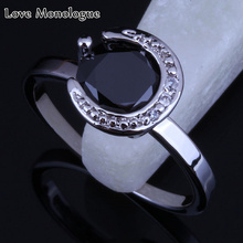 Love Monologue Womens Jewelry Small Round Black imitation Onyx and Crystal Silver Color Ring Size 6 / 7 / 8 Free Shipping H0112