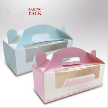 Baked donut box portable box packaging cupcakes with Pink/ blue thicker section Neto Quality white cardboard Special offer(China)