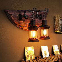 2017 Creative Retro Industrial Wall Lamp Old Boat Wood Nostalgia Iron lampshade Wall Light For Bar Cafe Store LED/Edison BULB(China)
