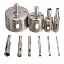 10pcs/set 3-50mm Diamond Drill Bit Hole Saw Set for Glass Ceramic Marble Tile Nickel Plated Core Drilling Top Quality