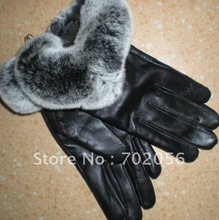 Fox fur Real lambskin Gloves skin gloves LEATHER GLOVES Warm Fashion 6pairs/lot #2419(China)
