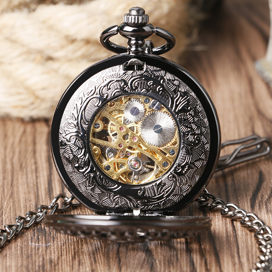 Retro Pocket Watch Black Hollow Case Mechanical Hand-Wind Watch with Necklace Unisex Steampunk Golden Skeleton Pendant Clock (7)
