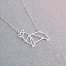 Newest Unique Origami Corgi Necklace Corgi Dog Necklace Geometric Origami Jewelry For Animal Lovers Gift