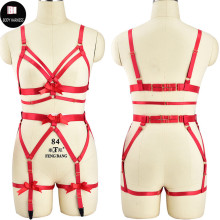 Buy Sexy Crop Top Women Cage Bra Bustier Garter Belt Fetish Body Harness Set Rave Red Bow Bondage Lingerie Harness Belt