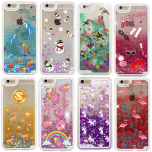 For iPhone 6 6S Case 2017 Latest Listing Cute Glitter Liquid Star Dolphin Snowman Phone Cover Case