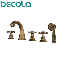 Freeshipping  Fashionable Tap Bathroom Brass Mixer Three handles Five holes Surface Mounted antique tub faucet HY-676