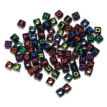 MJARTORIA 500PCs Beads Mixed Acrylic Letter/ Alphabet Cube Beads Spacer Beads For Jewelry Making DIY Jewelry Findings 6x6mm