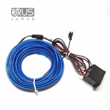 Car Styling Neon Light Flexible Blue EL Cold Line Wire 1/2/3/5M DIY LED Strip Car Decorative Interior Lights with 12V Drive