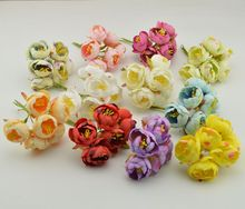 6pcs Stamen artificial flowers simulation small silk cloth roses tea bags DIY Wreath handmade wedding ball Gift box decoration