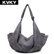 KVKY Vintage Women Canvas Handbag Casual Large Capacity Hobos Bag Hot Sell Female Totes Bolsas Trapeze Ruched Solid Shoulder Bag