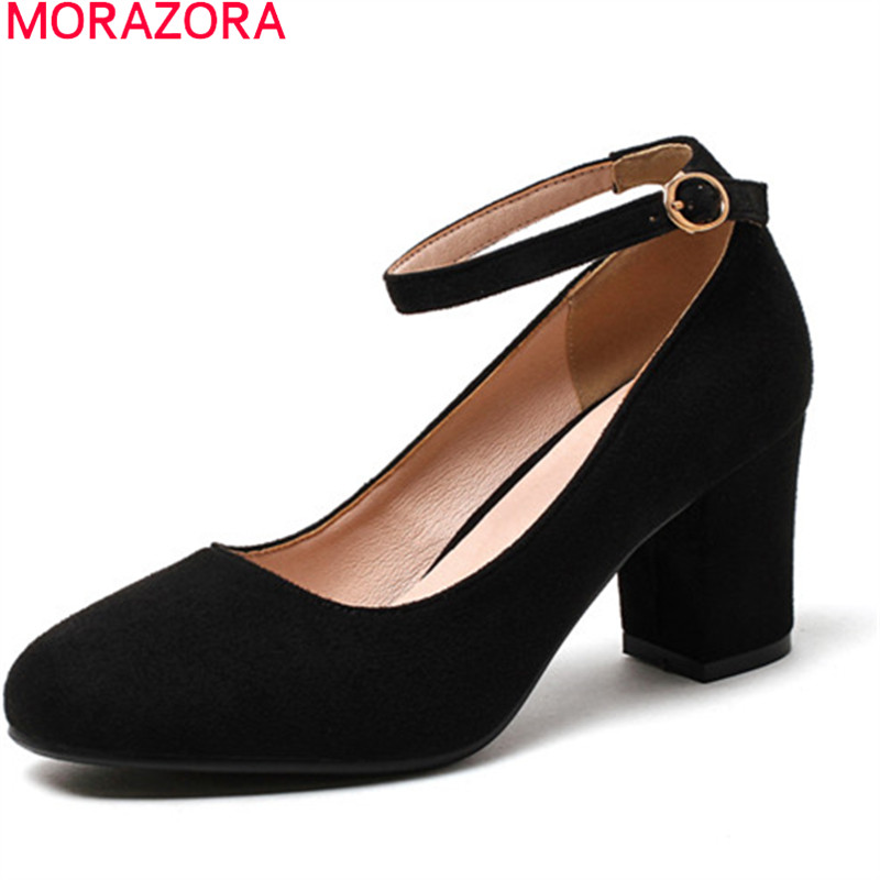 MORAZORA new arrive 2018 spring summer pumps women shoes shallow with buckle round toe flock high heels woman shoes<br>