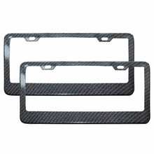 2pcs/Lot  Front Rear Carbon Fiber Look USA/Canada License Plate Frame Tag Cover Holder Auto Truck Vehicles A2119