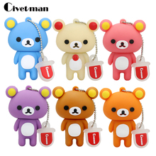 Lovely Pen drive Rilakkuma Bear Style USB flash drive Pen stick memory U disk 4GB 8GB 16GB 32GB 64GB usb Pengdrive