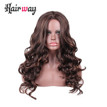 hair way 22inch Long Middle Part Synthetic Lace Wig Body Wave F4/30 Dark Brown Mixed Color Made with Premium Japanese Fiber(China)