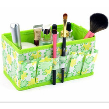 Cosmetic Storage Box Make Up Organizer Folding Desktop Dressing Jewelry Storage Box Small Bag Makeup Basket 18*10*10cm