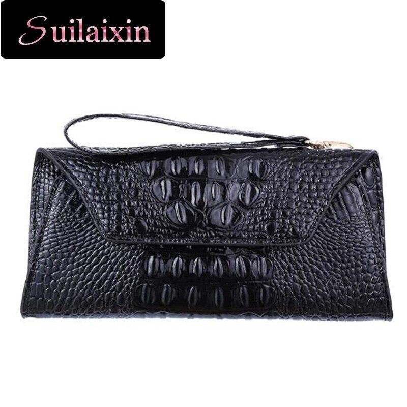 Women Luxury Brand Crocodile Alligator Leather 2 Flod Wallets Big Ladies Clutch Long Hand Bag Animal Wallet Purses High Quality <br><br>Aliexpress