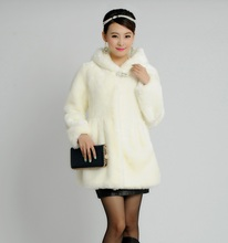 2017 autumn winters faux mink coat middle-aged rabbit hair cultivate long hooded faux fur plus size