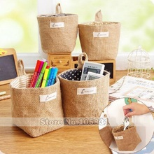 Zakka linen cotton jute storage bag desktop sundry creative double-sided cloth wall hanging bags multi-purpose
