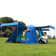 DESERTCAMEL Automatic Double Layers Tent Portable Four Doors Square Roof Tent With Breathable Mosquito Net For Camping Drop Ship(China)