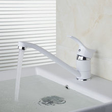 Long Short Single Handle White Painting Mixer Hot And Cold Mixer Tap Solid Brass Basin Faucet Chrome Bathroom Faucet  DS-92277
