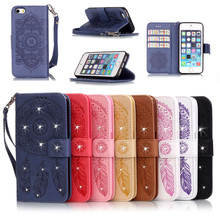 Fashion The drill Campanula brick Luxury PU Leather Stand Wallet Flip Cover Phone Case for iPhone 5S SE with Card Slots