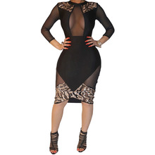 New 2017 Women Dress Sexy Sheath Mesh Patchwork Bodycon Bandage Dress Long Sleeve Knee Length Party Evening Club Dresses S2793