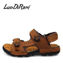 LuoDiRam Brand Fashion Men Beach Sandals, High Quality Summer Leather Men Sandals(China)
