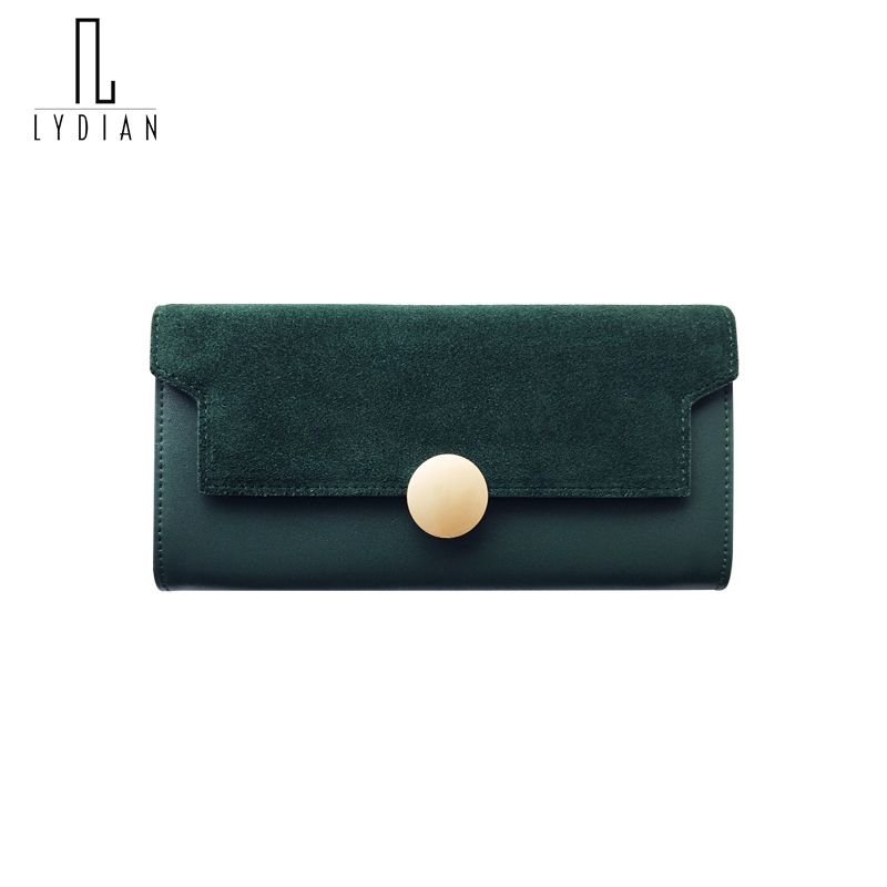 Lydian Hot Matte Leather Wallet Women Long Purse 2017 New Retro Leather Round Buckle Large Capacity Day Clutch Winter Money Bags<br>