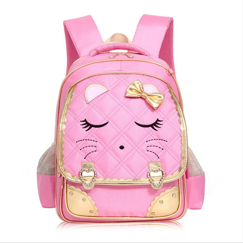 2017 Waterproof nylon Children School Bags for Girls Fashion Sweet girls Backpack High Quality cute cartoon cat Kids book Bag<br><br>Aliexpress