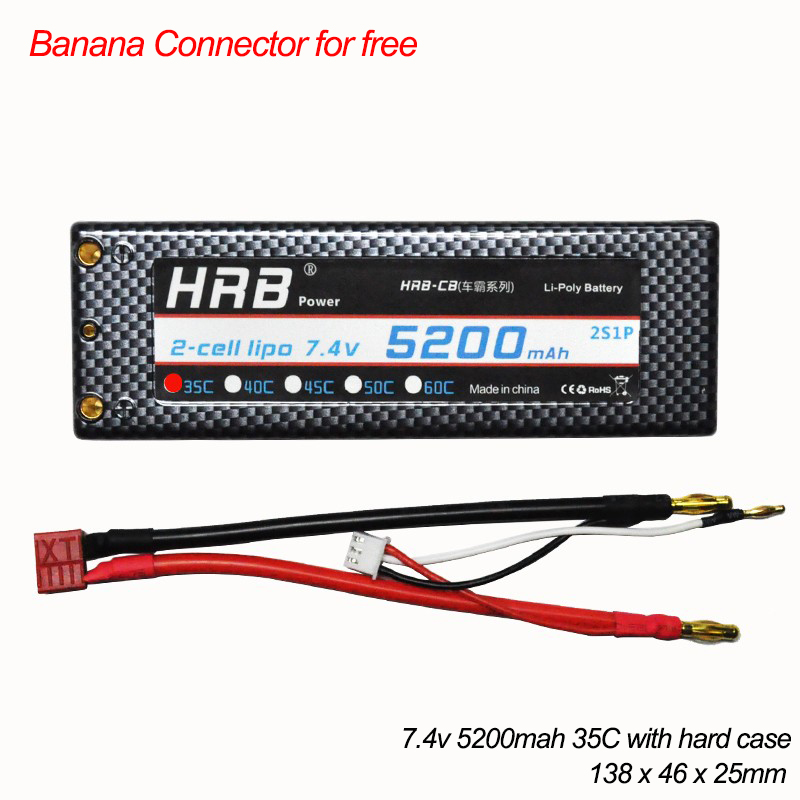 HRB 2S 7.4V 5200mAh 35C LiPo Battery Hard Case Banana Connector for RC Evader BX Car, RC Truck, RC Truggy RC Airplane <br>