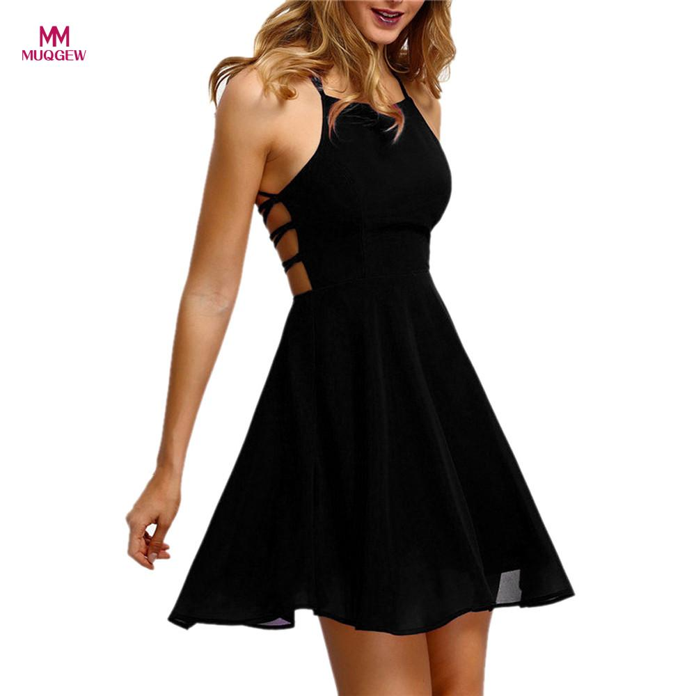 MUQGEW High Recommend Women's Party Cocktail Backless Bandage Sleeveless Mini Dress sexy dress vestido de festa Drop
