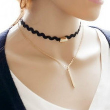 Hot Selling Korean Jewelry Black Double Imitation Leather Small Pendant Accessories Chocker Necklace For Women/Girls