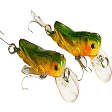 2PCS/Lot 4.5cm 3g Locust Insect Shape Fishing Lure With Treble Hooks Crankbait Minnow Fishing Lures Hard Bait(China)
