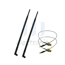 2  9dBi Dual Band RP-SMA WiFi Antennas + 2 U.fl cables for Mod D-Link DIR-655 Linksys E2000