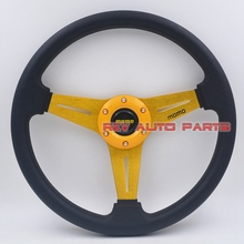 Free Shipping Golden Color 350mm PU Momo Racing Sport Steering Wheel(China)