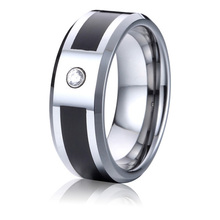 black mens wedding band 8mm tungsten ring cz stone wholesale fashion jewelry bijoux USA free shipping(China)
