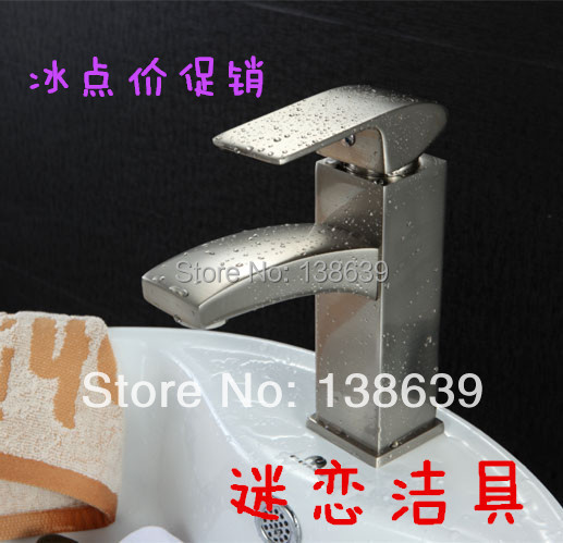 Retail- Brass nickle brushed Washbasin Square Faucet, Wash Basin Mixer, Deck Mounted Tap, Free Shipping,luxury basin taps<br><br>Aliexpress