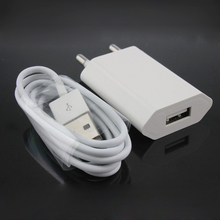 White EU Plug Wall Power Charger Adapter + USB Charging Cable For Apple Iphone 5 5s 5c 6 6s Plus 7 plus IOS 8 9 Ipad