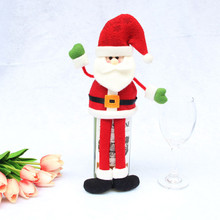 New Arrival 3 Pattern Santa Claus Wine Bottle Cover Bags Decoration Home Party Cloth Velvet Christmas Wine Bottle Cover(China)